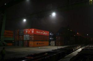 Neue LED-Beleuchtung am Hafen im Berliner Westen.