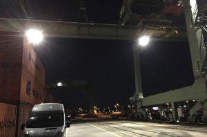 LED Strahler von EGAS am Berliner Westhafen.