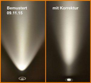Korrektur des Lichtkegels durch eigene Blende bei LED Strahlern
