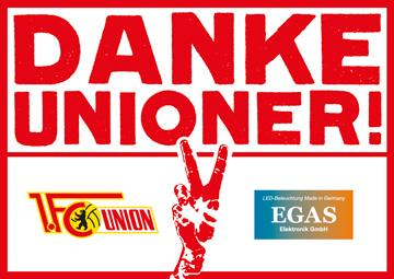 Echte Partner –EGAS Elektronik GmbH unterstützt den 1. FC Union auch weiter als Sponsor.